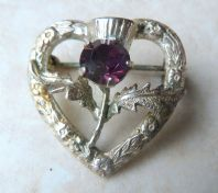 Vintage Dainty Sterling Silver Scottish Thistle Heart Brooch By WBS.